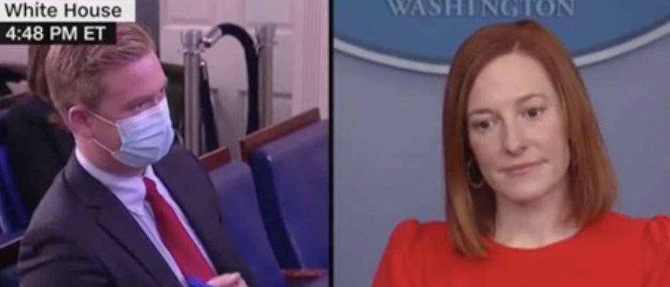 Fox News' Peter Doocy questions White House press secretary Jen Psaki. Screenshot/CNN