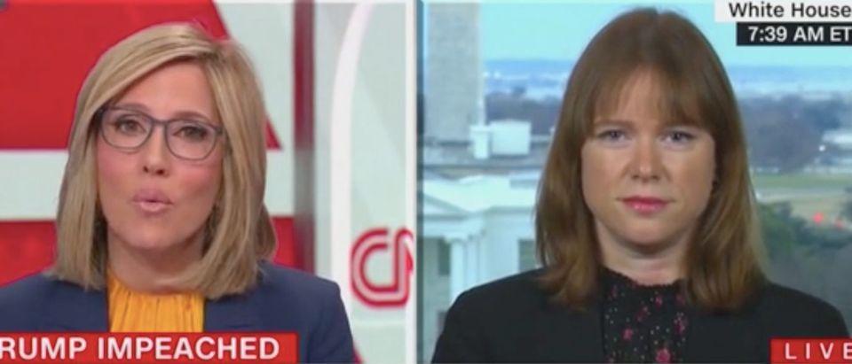 "Alisyn Camerota speaks with Kate Bedingfield on ""New Day."" Screenshot/CNN"