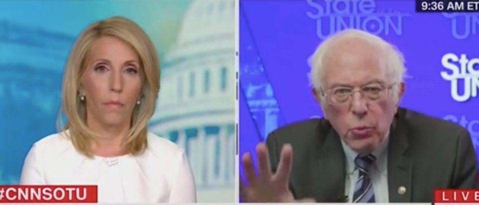 "Dana Bash speaks with Bernie Sanders on ""State of the Union."" Screenshot/CNN"