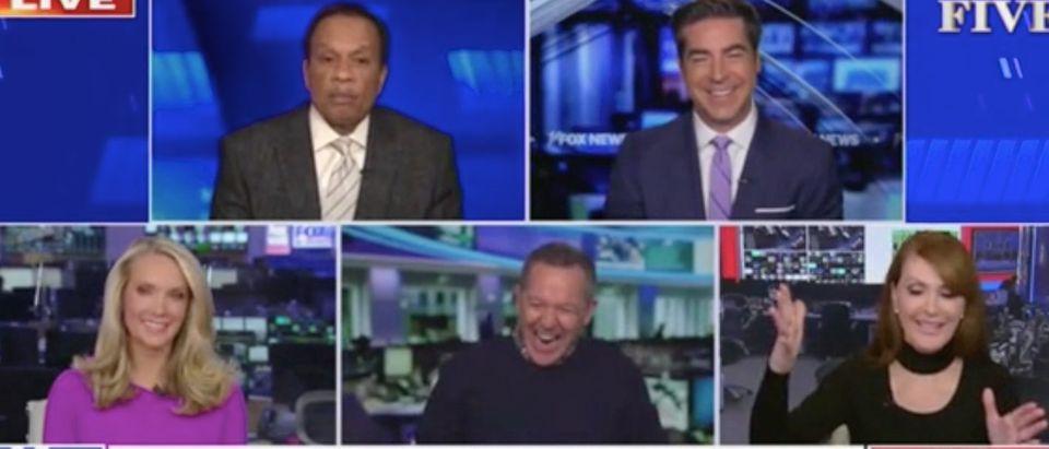 "Juan Williams, Jesse Watters, Dana Perino, Greg Gutfeld and Dagen McDowell appear on ""The Five."" Screenshot/Fox News"