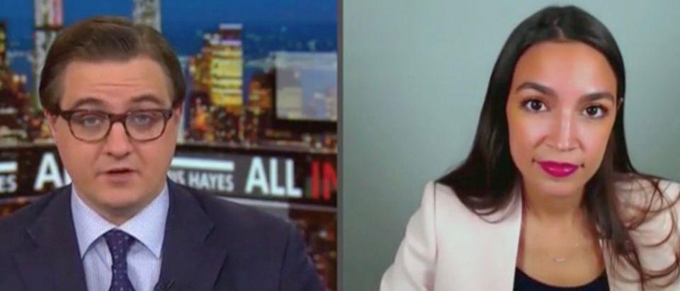 Chris Hayes and Rep. Alexandria Ocasio-Cortez (Screenshot/MSNBC)