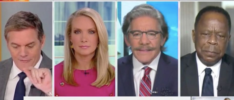 "Geraldo Rivera and Leo Terrell appear with Bill Hemmer and Dana Perino on ""America's Newsroom."" Screenshot/Fox News"