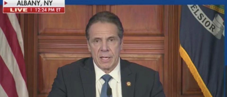 NY Gov. Andrew Cuomo gives press conference. Screenshot/Fox News