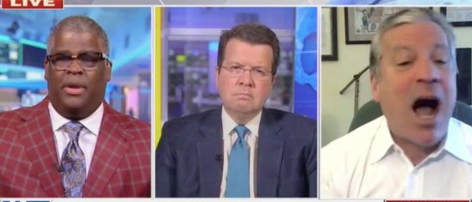 "Charles Payne, Neil Cavuto, and Charlie Gasparino appear on ""Your World with Neil Cavuto."" Screenshot/Fox News"