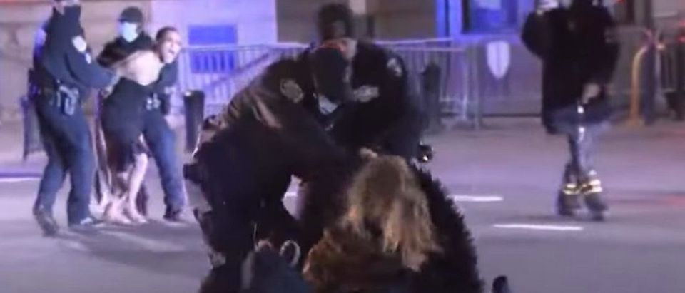 Screen Shot:Youtube:NYPD, Protesters Clash In Manhattan; 30 Arrests:CBS New York 112