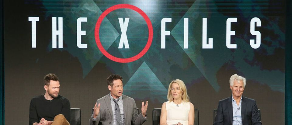 """PASADENA, CA - JANUARY 15: Actors Joel McHale, David Duchovny, Gillian Anderson and Creator/Executive Producer Chris Carter speak onstage during """"The X-Files"""" panel discussion at the FOX portion of the 2015 Winter TCA Tour at the Langham Huntington Hotel on January 15, 2016 in Pasadena, California (Photo by Frederick M. Brown/Getty Images)"""