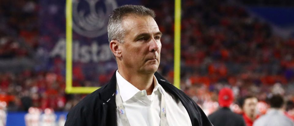 Dec 28, 2019; Glendale, AZ, USA; Ohio State Buckeyes former head coach Urban Meyer before the 2019 Fiesta Bowl college football playoff semifinal game against the Clemson Tigers at State Farm Stadium. Mandatory Credit: Matthew Emmons-USA TODAY Sports via Reuters
