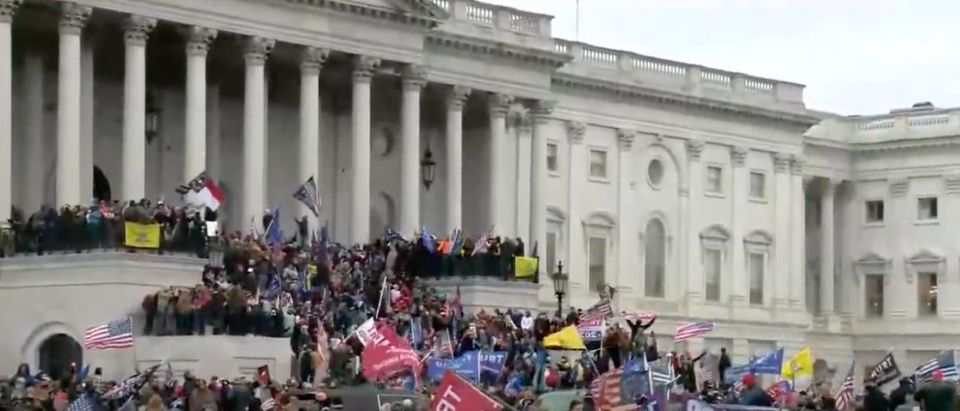 Trump protesters gather on the steps of the U.S. Capitol, Jan. 6, 2021. (YouTube screen capture/Fox News)