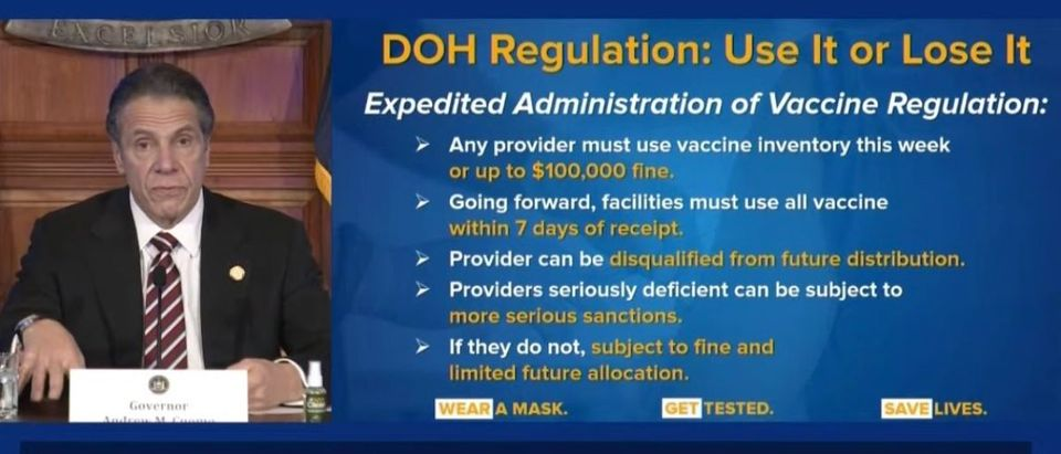 New York Gov. Andrew Cuomo speaks at daily coronavirus press conference, Jan. 4, 2021. (YouTube screencapture/NBC New York)