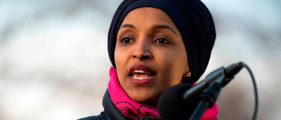 """US Congresswoman Ilhan Omar, D-MN, speaks on Capitol Hill in Washington, DC, on January 9, 2020, during a rally on """"No War with Iran"""". (Photo by JIM WATSON / AFP) (Photo by JIM WATSON/AFP via Getty Images)"""