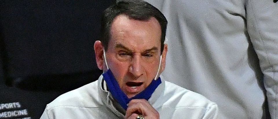 Feb 1, 2021; Coral Gables, Florida, USA; Duke Blue Devils head coach Mike Krzyzewski reacts during the first half against the Miami Hurricanes at Watsco Center. Mandatory Credit: Jasen Vinlove-USA TODAY Sports via Reuters