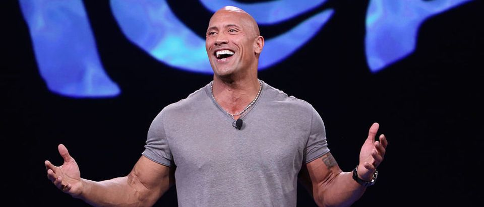 "ANAHEIM, CA - AUGUST 14: Actor Dwayne Johnson of MOANA took part today in ""Pixar and Walt Disney Animation Studios: The Upcoming Films"" presentation at Disney's D23 EXPO 2015 in Anaheim, Calif. (Photo by Jesse Grant/Getty Images for Disney)"