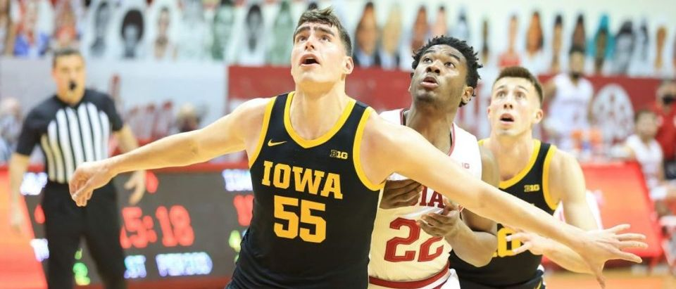 BLOOMINGTON, INDIANA - FEBRUARY 07: Luka Garza #55 of the Iowa Hawkeyes against the Indiana Hoosiers at Assembly Hall on February 07, 2021 in Bloomington, Indiana. (Photo by Andy Lyons/Getty Images)