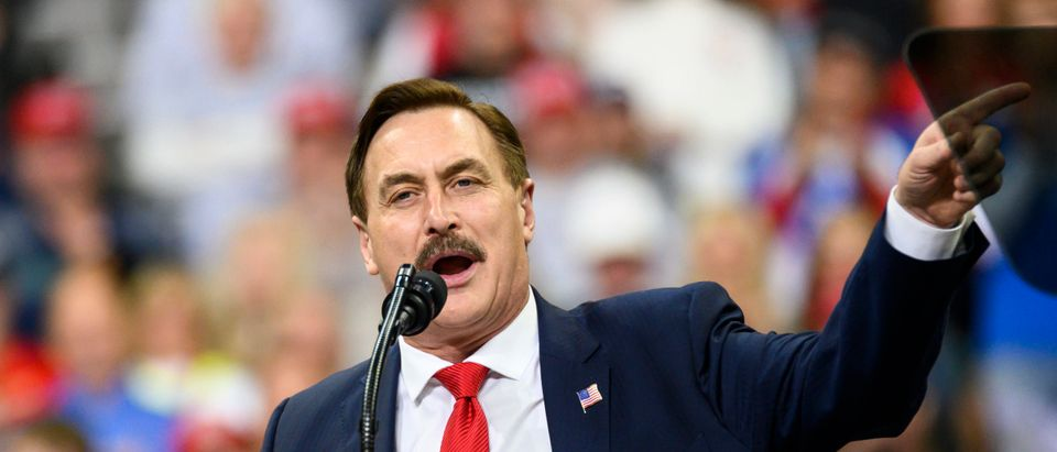 Mike Lindell, CEO of My Pillow, speaks during a campaign rally held by U.S. President Donald Trump at the Target Center on October 10, 2019 in Minneapolis, Minnesota. (Stephen Maturen/Getty Images)