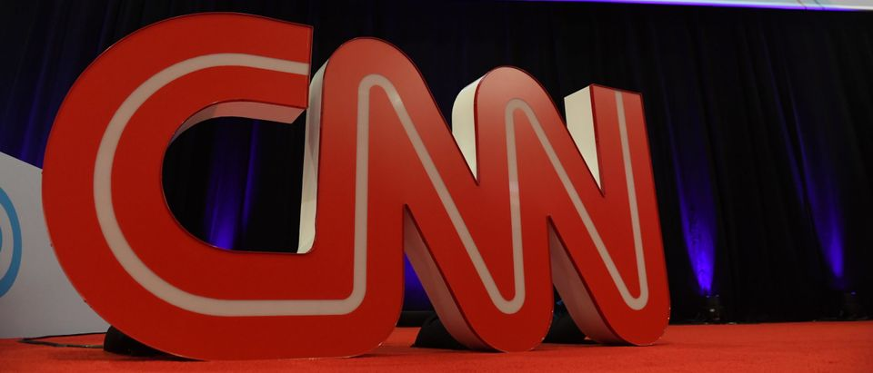 A CNN sign is viewed before the fourth Democratic primary debate of the 2020 presidential campaign season hosted by CNN and The New York Times at Otterbein University in Westerville, Ohio, October 15, 2019. (SAUL LOEB/AFP via Getty Images)