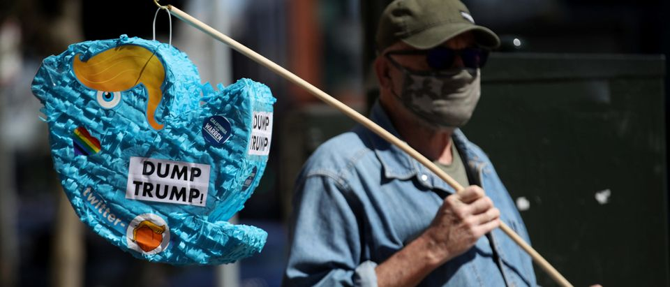 Protesters Destroy Twitter Bird Representing President Trump Outside Twitter Headquarters