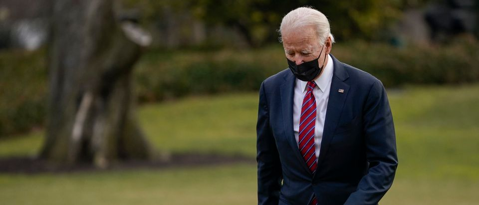 WASHINGTON, DC - JANUARY 29: U.S. President Joe Biden walks to the White House residence upon exiting Marine One on January 29, 2021 in Washington, DC. President Biden traveled to Walter Reed National Military Medical Center to visit with wounded service members. (Photo by Drew Angerer/Getty Images)