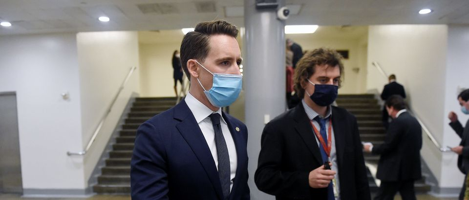 Senator Josh Hawley (R-MO) makes his way to the subway at the US Capitol on February 2, 2021 in Washington, DC. (Photo by Olivier Douliery/AFP via Getty Images)