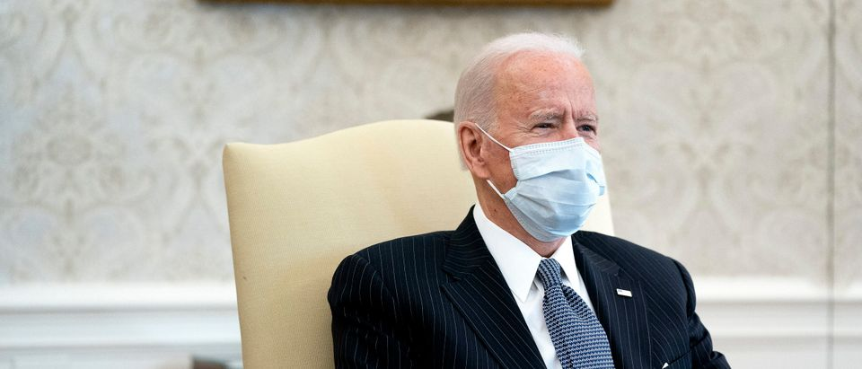 U.S. President Joe Biden meets with Democratic senators to discuss his $1.9 trillion American Rescue Plan in the Oval Office at the White House on February 03, 2021 in Washington, DC. (Stefani Reynolds-Pool/Getty Images)