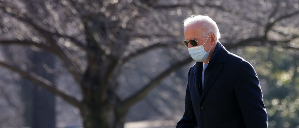 U.S. President Joe Biden walks on the South Lawn toward the residence after he landed at the White House February 8, 2021 in Washington, DC. (Alex Wong/Getty Images)