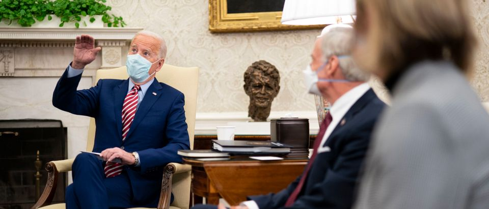President Biden Meets With Senators In Oval Office To Discuss Infrastructure