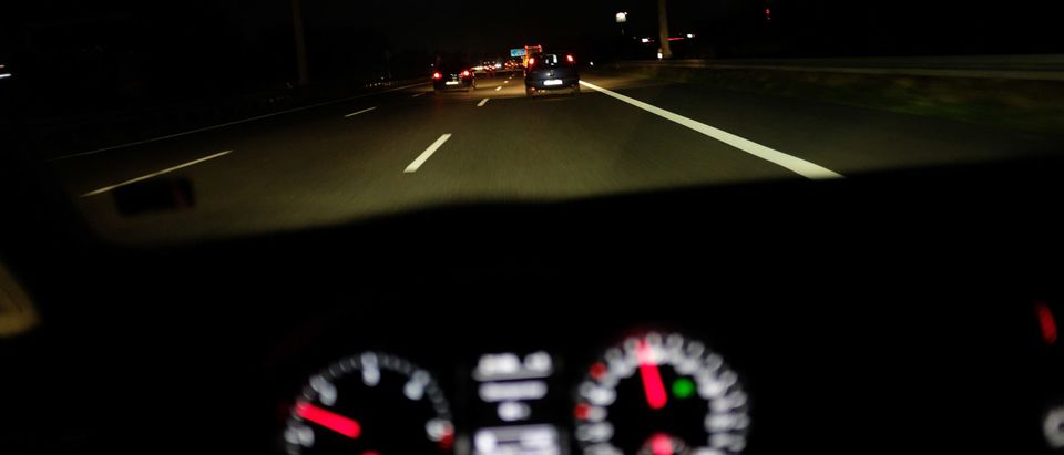 Driving On A Highway At Night