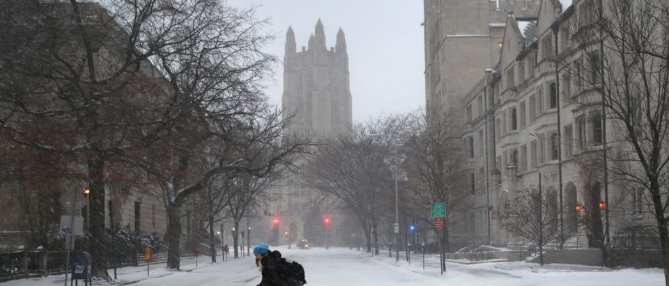 A woman walks through the campus of Yale University on January 4, 2018 in New Haven, Conneticut. (John Moore/Getty Images)