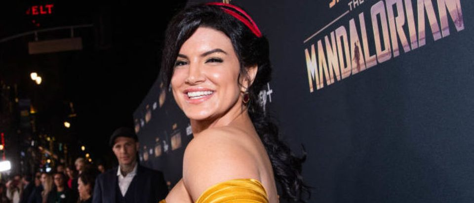 LOS ANGELES, CALIFORNIA - NOVEMBER 13: Gina Carano attends the premiere of Disney+'s 'The Mandalorian' at El Capitan Theatre on November 13, 2019 in Los Angeles, California. (Photo by Emma McIntyre/Getty Images)