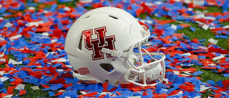 ATLANTA, GA - DECEMBER 31: Houston Cougars helmets are surrounded by confetti after the Cougars defeated the Florida State Seminoles 38-24 to win the Chick-fil-A Peach Bowl at the Georgia Dome on December 31, 2015 in Atlanta, Georgia. (Photo by Kevin C. Cox/Getty Images)
