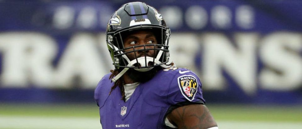 BALTIMORE, MARYLAND - NOVEMBER 01: Outside linebacker Matt Judon #99 of the Baltimore Ravens looks on in the first half against the Pittsburgh Steelers at M&T Bank Stadium on November 01, 2020 in Baltimore, Maryland. (Photo by Patrick Smith/Getty Images)