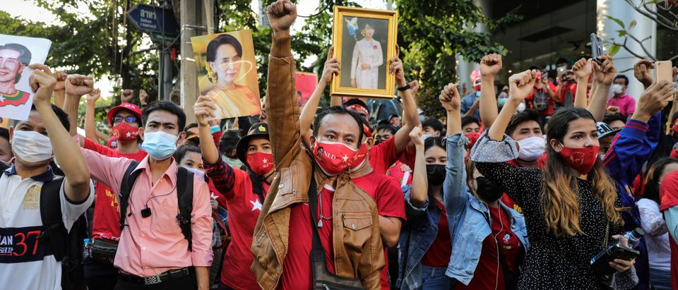 Protest At Myanmar Embassy In Bangkok After Coup