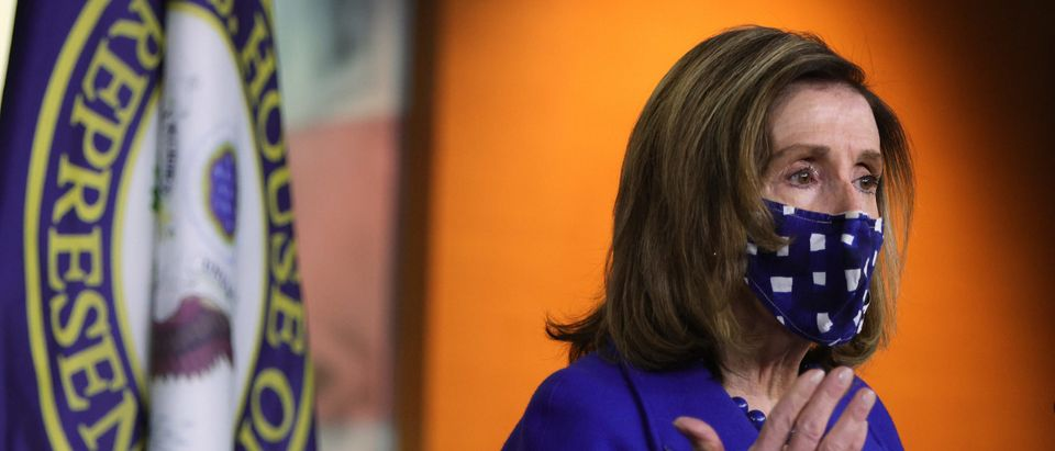 House Speaker Pelosi Holds Weekly News Conference At The Capitol