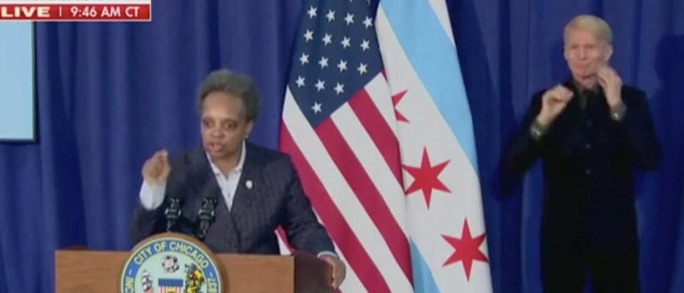 Chicago Mayor Lori Lightfoot holds press conference. Screenshot/Fox News