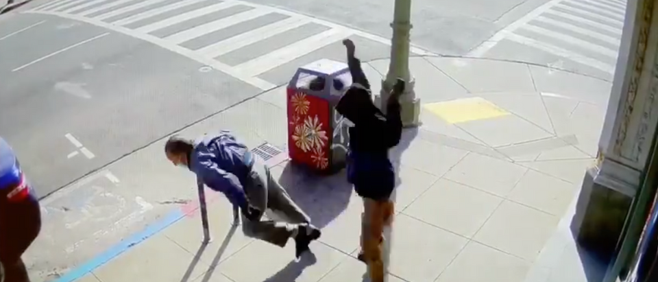 An elderly man in Oakland's Chinatown was thrown to the ground by a random suspect during the recent wave of crimes against Asians. [Twitter/Screenshot/Public User Dion Lam]