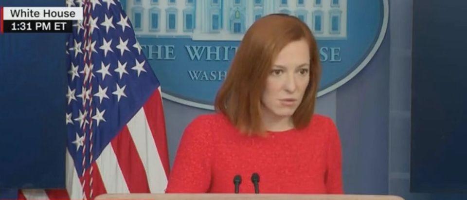 Jen Psaki gives White House press briefing. Screenshot/CNN