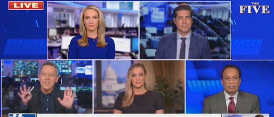 "Greg Gutfeld, Dana Perino, Katie Pavlich, Jesse Watters and Juan Williams appear on ""The Five."" Screenshot/Fox News"