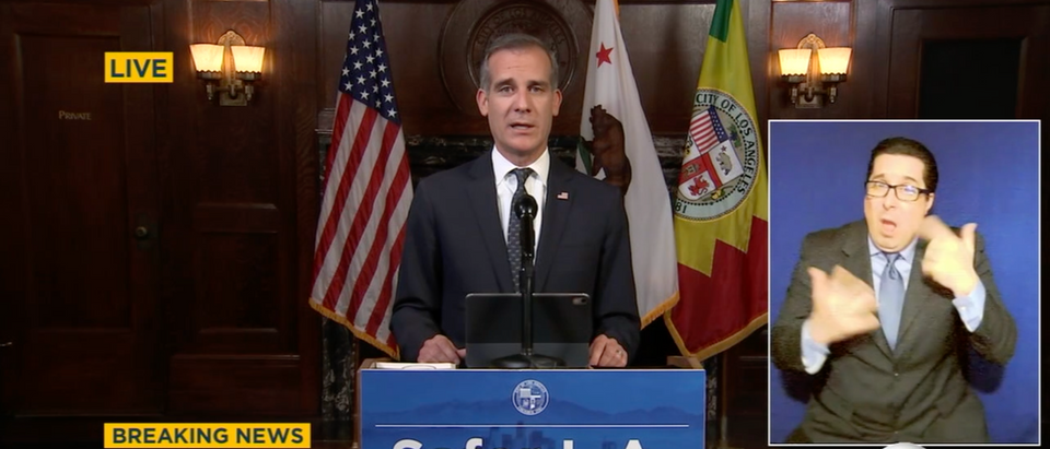 Eric Garcetti Gives Briefing Wednesday