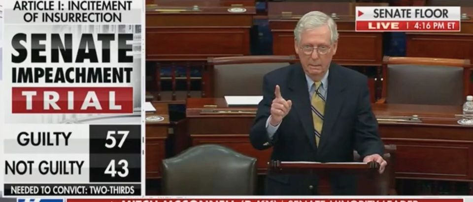 Mitch McConnell speaks on the Senate floor. Screenshot/Fox News