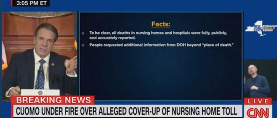 Andrew Cuomo holds press conference. Screenshot/CNN