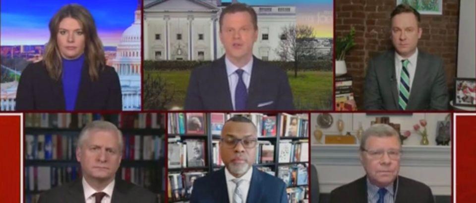 Kasie Hunt, Willie Geist, Jonathan Lemire, Jon Meacham, Eddie Glaude Jr., and Charlie Sykes (Screenshot/MSNBC)