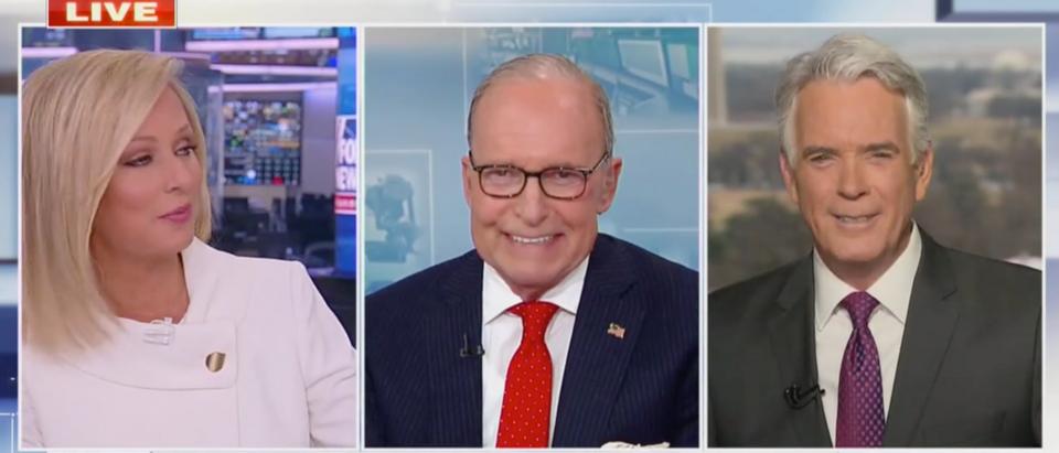 Larry Kudlow was caught on a hot mic cursing over VP Kamala Harris' vaccine distribution claims. (Screenshot Fox News)