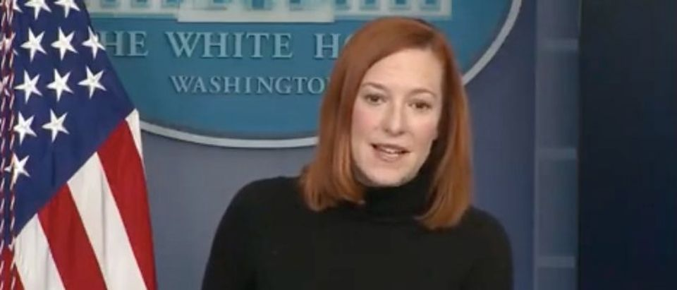 Jen Psaki gives White House press briefing. Screenshot/The White House