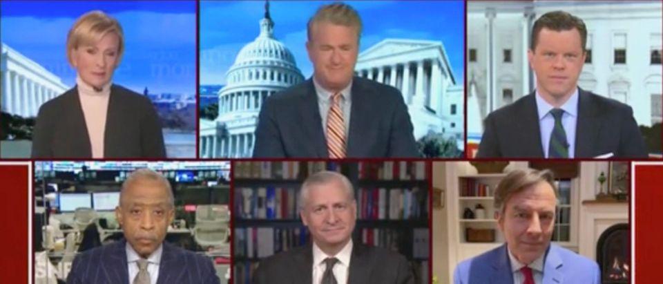 Mika Brzezinski, Joe Scarborough, Willie Geist, Al Sharpton, Jon Meacham, and Rick Tyler (Screenshot/MSNBC)