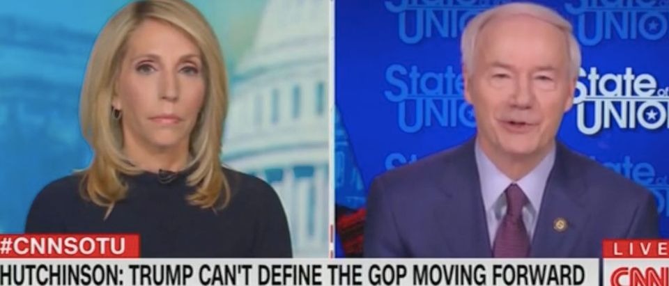 "Dana Bash and Asa Hutchinson appear on ""State of the Union."" Screenshot/CNN"