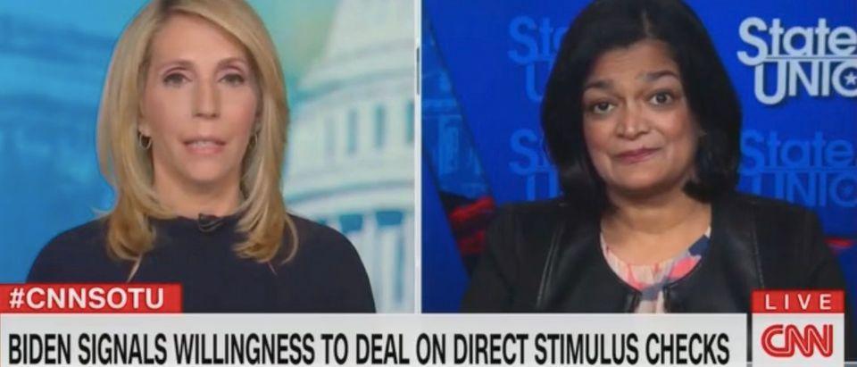 "Dana Bash and Rep. Pramila Jayapal appear on ""State of the Union."" Screenshot/CNN"