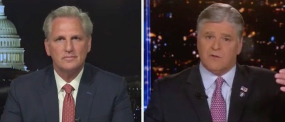 Rep. Kevin McCarthy and Sean Hannity (Screenshot/Fox News)