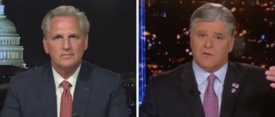 Rep. Kevin McCarthy and Sean Hannity (Screenshot/Fox News)