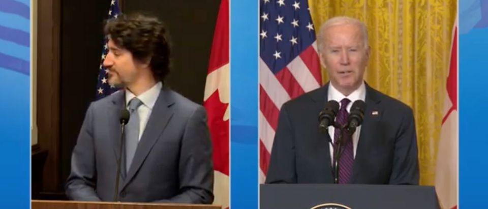 Justin Trudeau, Joe Biden (screenshot, White House YouTube)