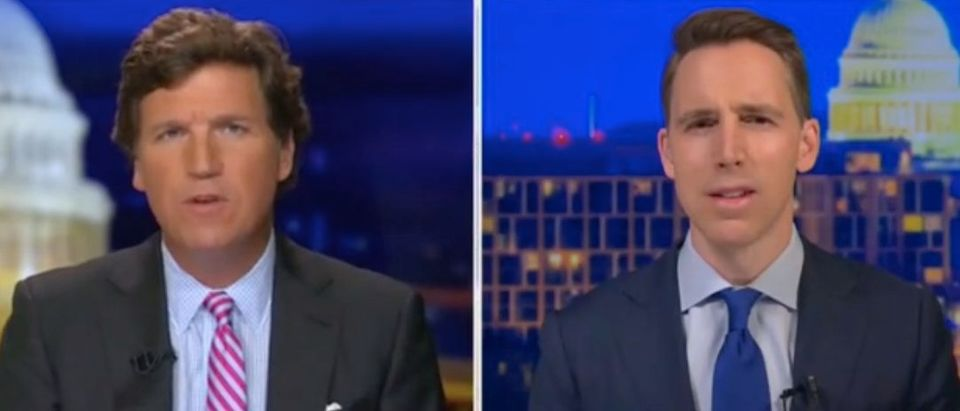 "Tucker Carlson and Josh Hawley appear on ""Tucker Carlson Tonight."" Screenshot/Fox News"