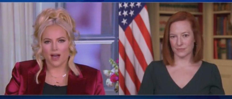 "Meghan McCain speaks with Jen Psaki on ""The View."" Screenshot/ABC"